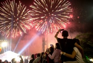 Punta del Este em dezembro: show de fogos de artifício