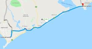 Viagem de carro de Punta del Este a José Ignacio: trajeto