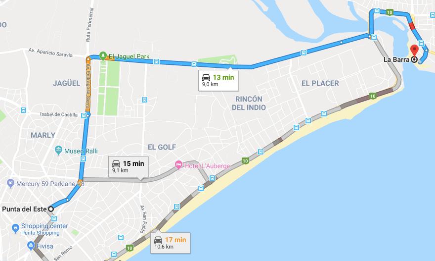 Viagem de carro de Punta del Este a La Barra: trajeto