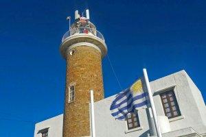 Farol de Punta Carretas em Montevidéu: Bandeira do Uruguai