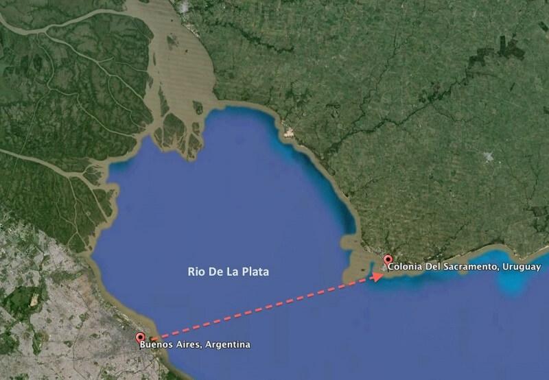 Ferry Colonia del Sacramento e Buenos Aires - Mapa